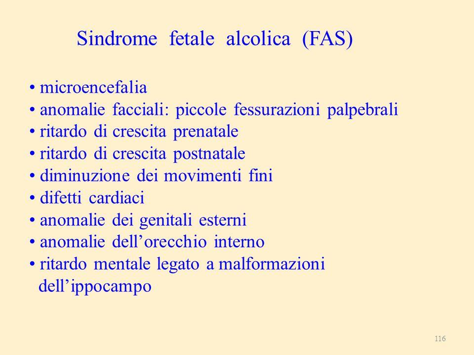 116 Sindrome fetale alcolica (FAS) microencefalia anomalie facciali: piccole fessurazioni palpebrali ritardo di crescita prenatale ritardo di crescita