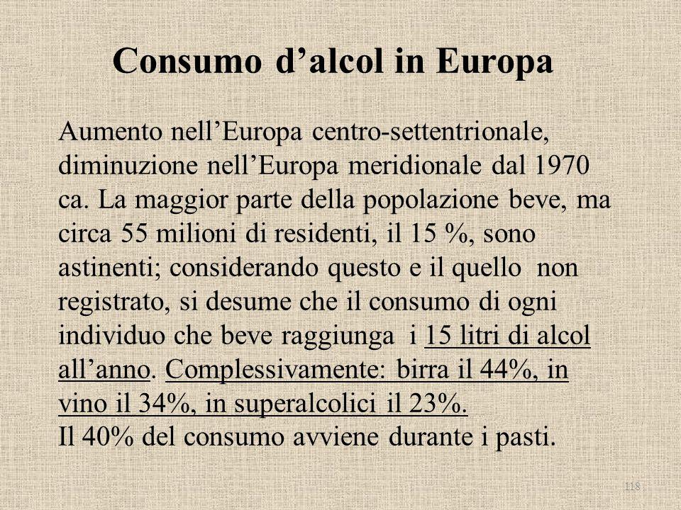 Consumo dalcol in Europa Aumento nellEuropa centro-settentrionale, diminuzione nellEuropa meridionale dal 1970 ca. La maggior parte della popolazione