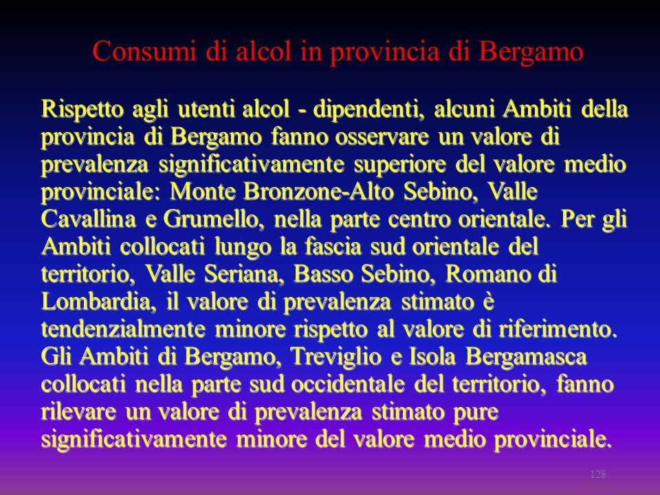 Rispetto agli utenti alcol - dipendenti, alcuni Ambiti della provincia di Bergamo fanno osservare un valore di prevalenza significativamente superiore