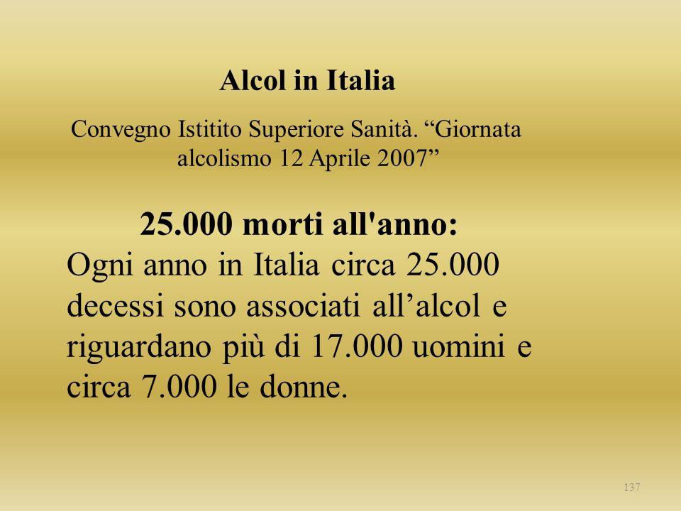 Alcol in Italia Convegno Istitito Superiore Sanità. Giornata alcolismo 12 Aprile 2007 25.000 morti all'anno: Ogni anno in Italia circa 25.000 decessi