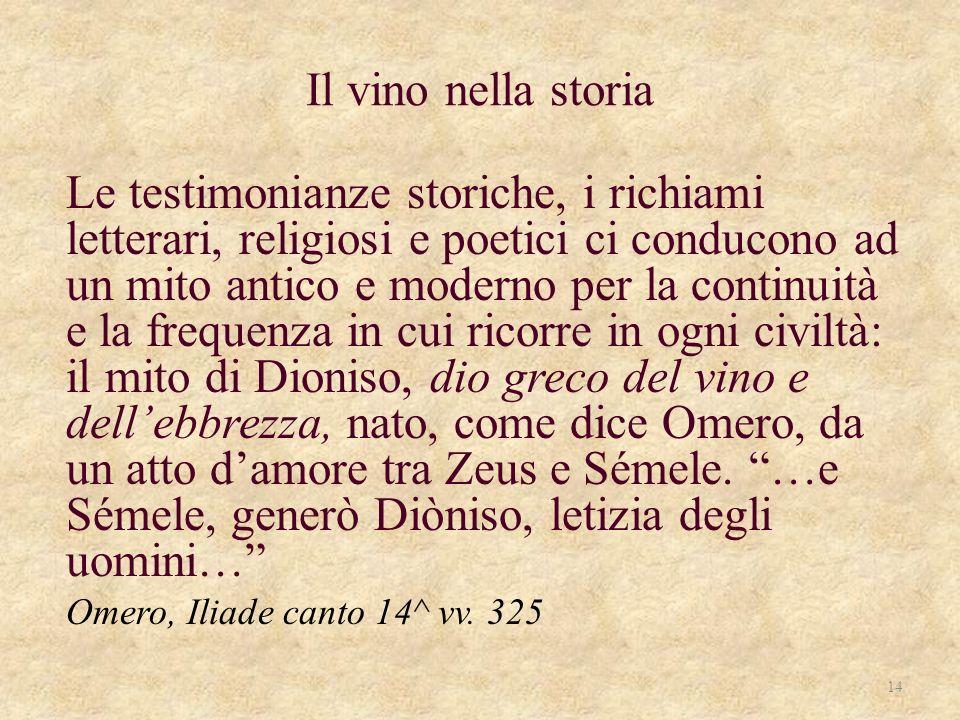 Il vino nella storia Le testimonianze storiche, i richiami letterari, religiosi e poetici ci conducono ad un mito antico e moderno per la continuità e