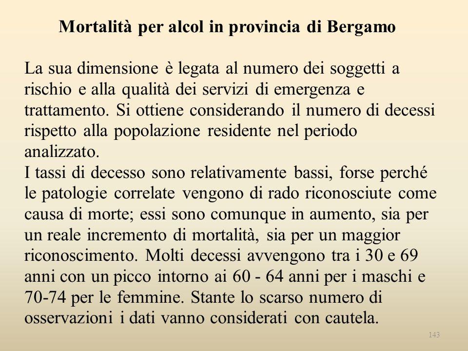 Mortalità per alcol in provincia di Bergamo La sua dimensione è legata al numero dei soggetti a rischio e alla qualità dei servizi di emergenza e trat