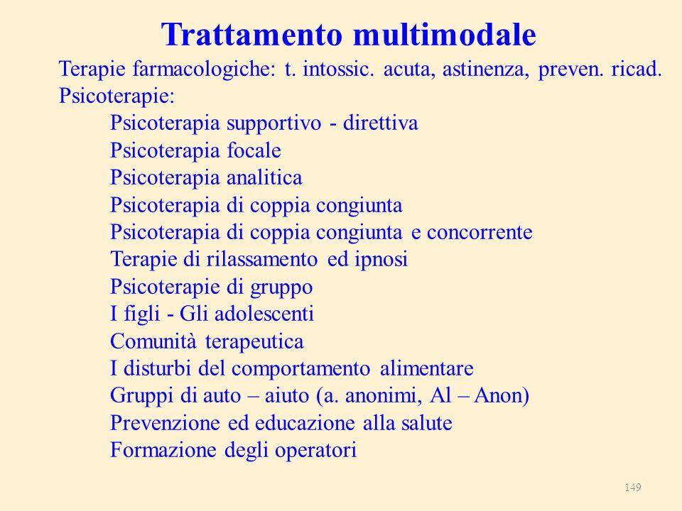149 Trattamento multimodale Terapie farmacologiche: t. intossic. acuta, astinenza, preven. ricad. Psicoterapie: Psicoterapia supportivo - direttiva Ps