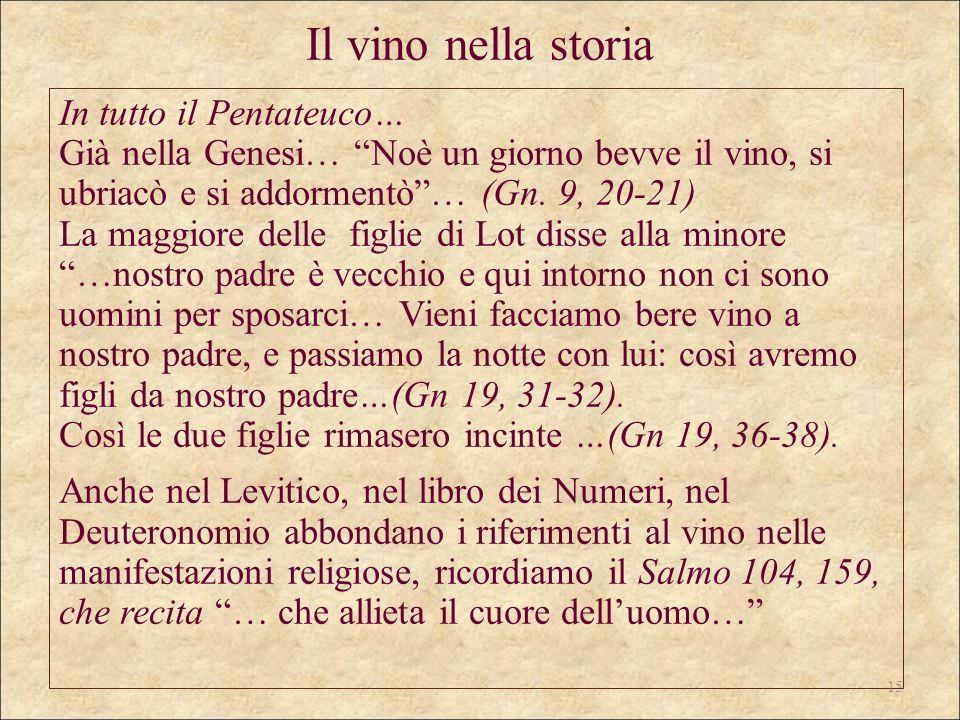 Il vino nella storia In tutto il Pentateuco… Già nella Genesi… Noè un giorno bevve il vino, si ubriacò e si addormentò… (Gn. 9, 20-21) La maggiore del