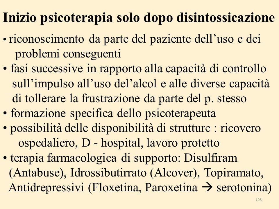 Inizio psicoterapia solo dopo disintossicazione riconoscimento da parte del paziente delluso e dei problemi conseguenti fasi successive in rapporto al