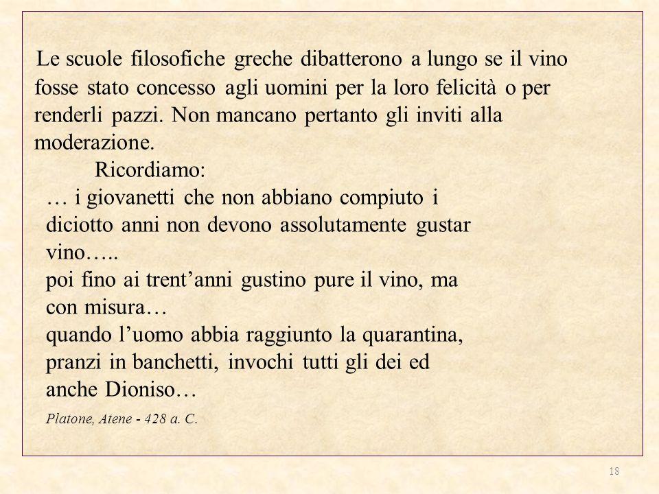Le scuole filosofiche greche dibatterono a lungo se il vino fosse stato concesso agli uomini per la loro felicità o per renderli pazzi. Non mancano pe