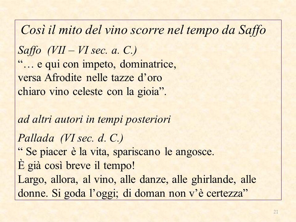 Così il mito del vino scorre nel tempo da Saffo Saffo (VII – VI sec. a. C.) … e qui con impeto, dominatrice, versa Afrodite nelle tazze doro chiaro vi