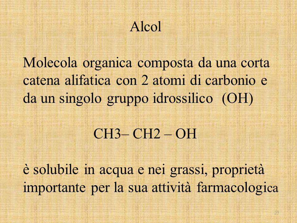 25 Alcol Molecola organica composta da una corta catena alifatica con 2 atomi di carbonio e da un singolo gruppo idrossilico (OH) CH3– CH2 – OH è solu