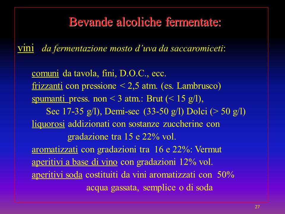 Bevande alcoliche fermentate: Bevande alcoliche fermentate: vini da fermentazione mosto duva da saccaromiceti: comuni da tavola, fini, D.O.C., ecc. fr