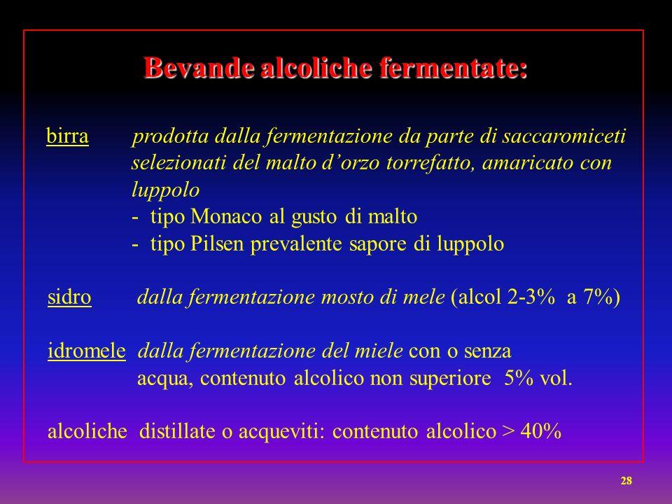 Bevande alcoliche fermentate: Bevande alcoliche fermentate: birra prodotta dalla fermentazione da parte di saccaromiceti selezionati del malto dorzo t