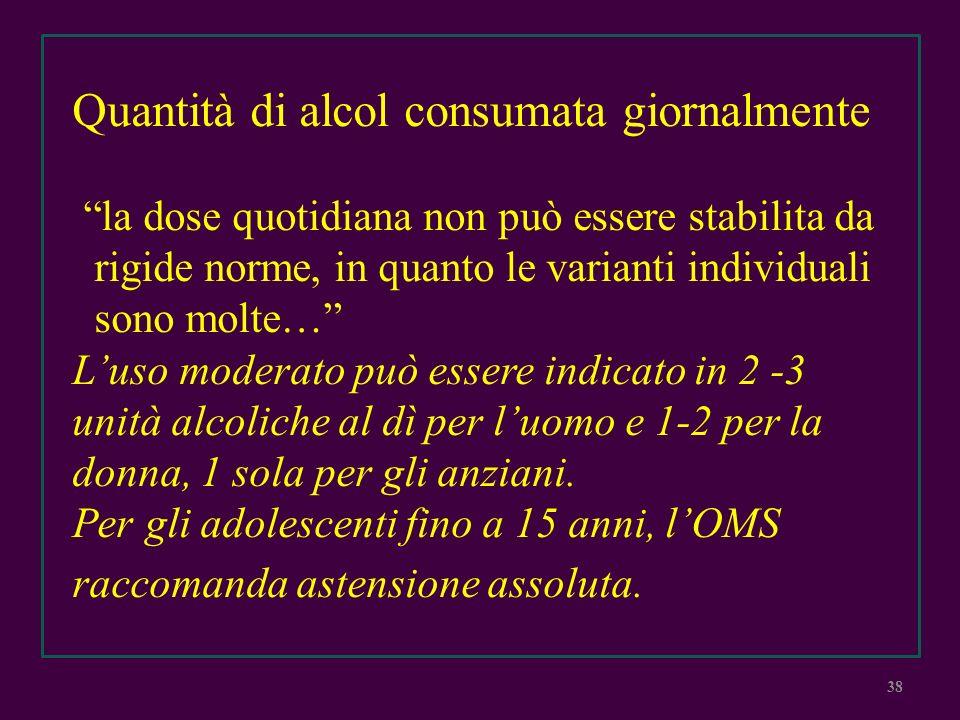 Quantità di alcol consumata giornalmente la dose quotidiana non può essere stabilita da rigide norme, in quanto le varianti individuali sono molte… Lu