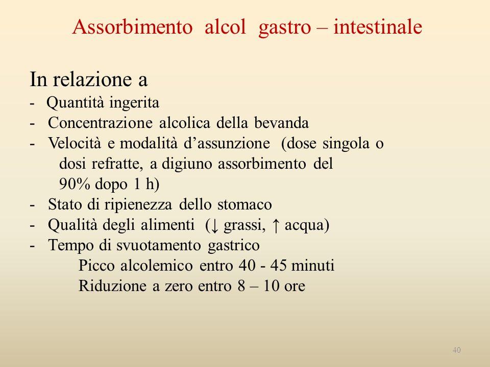 Assorbimento alcol gastro – intestinale In relazione a - Quantità ingerita - Concentrazione alcolica della bevanda - Velocità e modalità dassunzione (