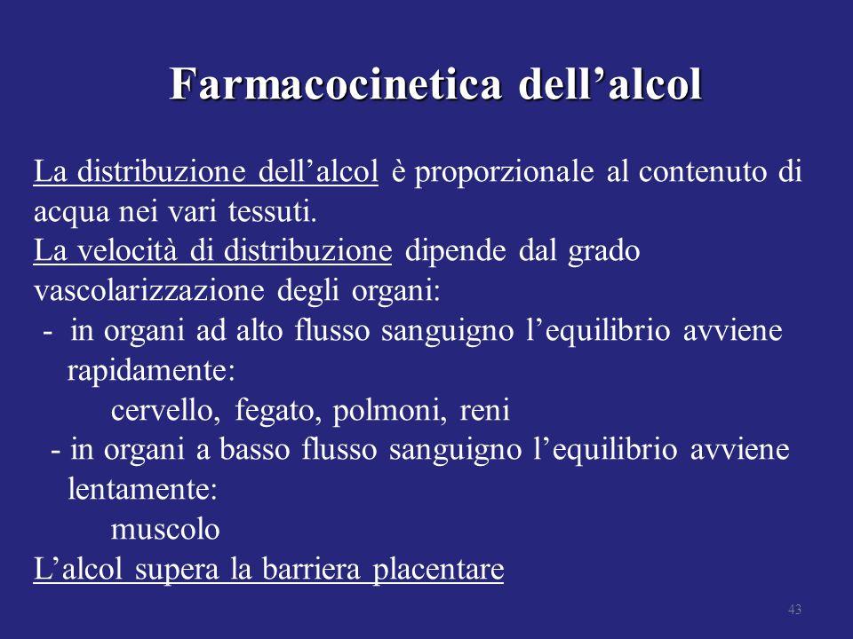 Farmacocinetica dellalcol Farmacocinetica dellalcol La distribuzione dellalcol è proporzionale al contenuto di acqua nei vari tessuti. La velocità di