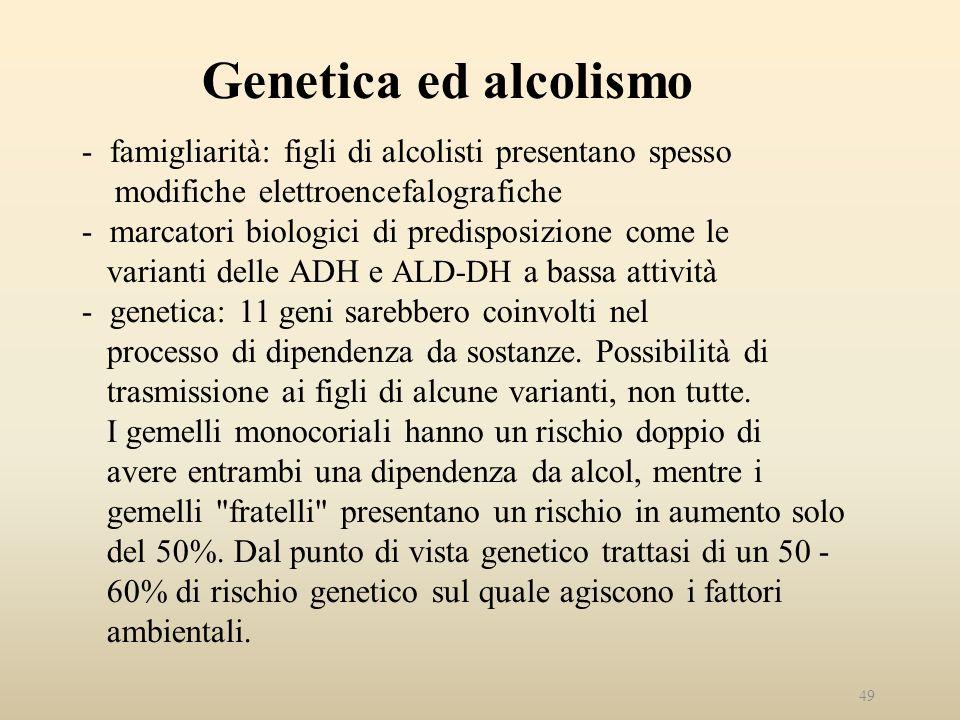 Genetica ed alcolismo - famigliarità: figli di alcolisti presentano spesso modifiche elettroencefalografiche - marcatori biologici di predisposizione