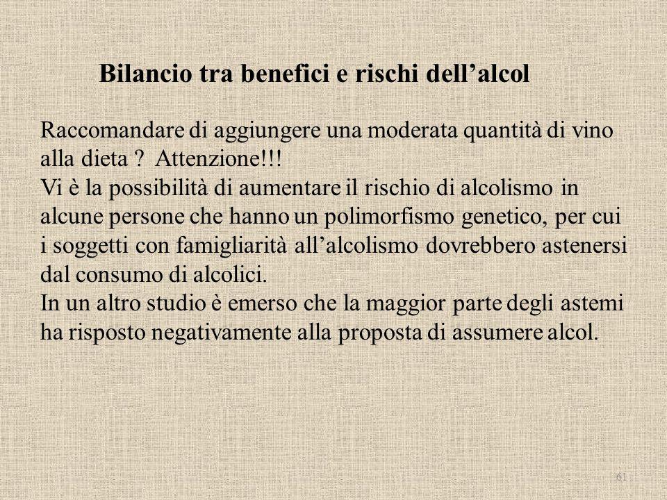 Bilancio tra benefici e rischi dellalcol Raccomandare di aggiungere una moderata quantità di vino alla dieta ? Attenzione!!! Vi è la possibilità di au