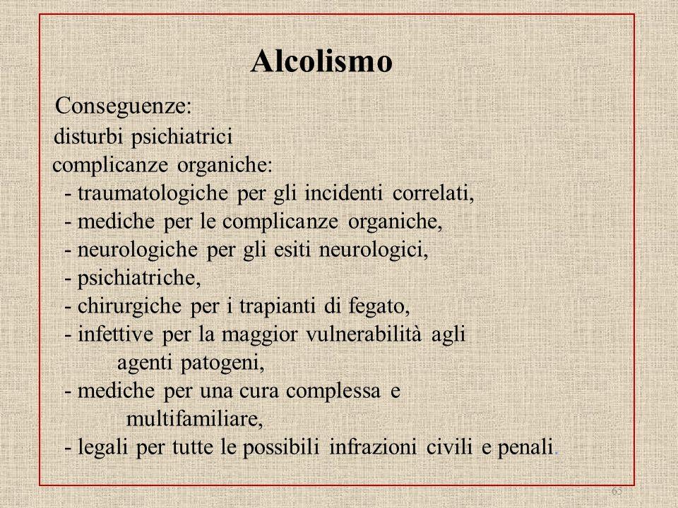 Alcolismo Conseguenze: disturbi psichiatrici complicanze organiche: - traumatologiche per gli incidenti correlati, - mediche per le complicanze organi
