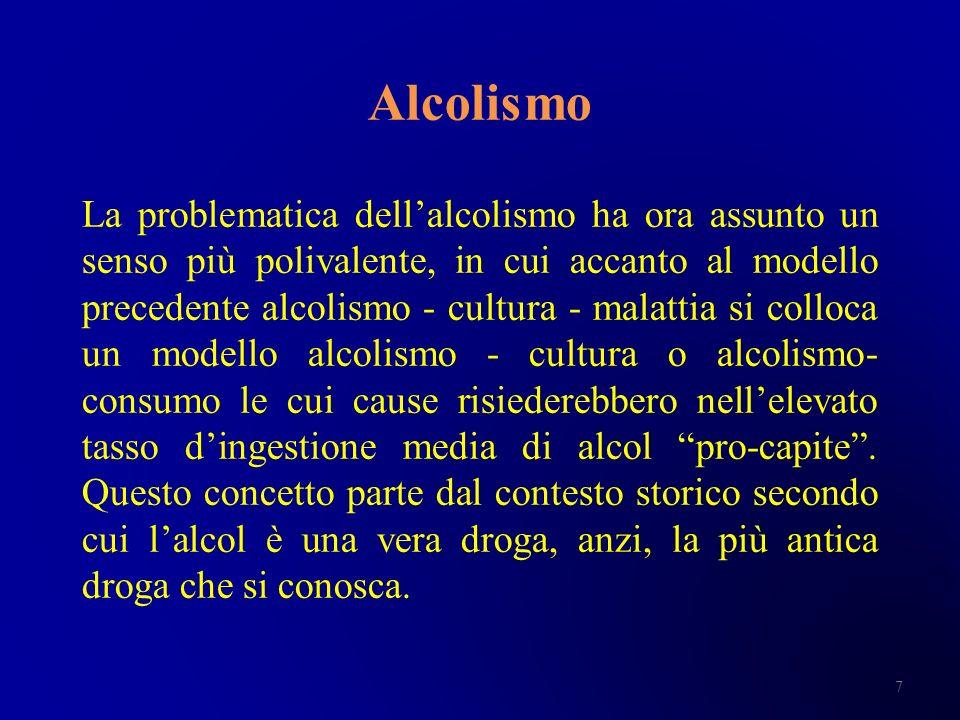 Alcolismo La problematica dellalcolismo ha ora assunto un senso più polivalente, in cui accanto al modello precedente alcolismo - cultura - malattia s