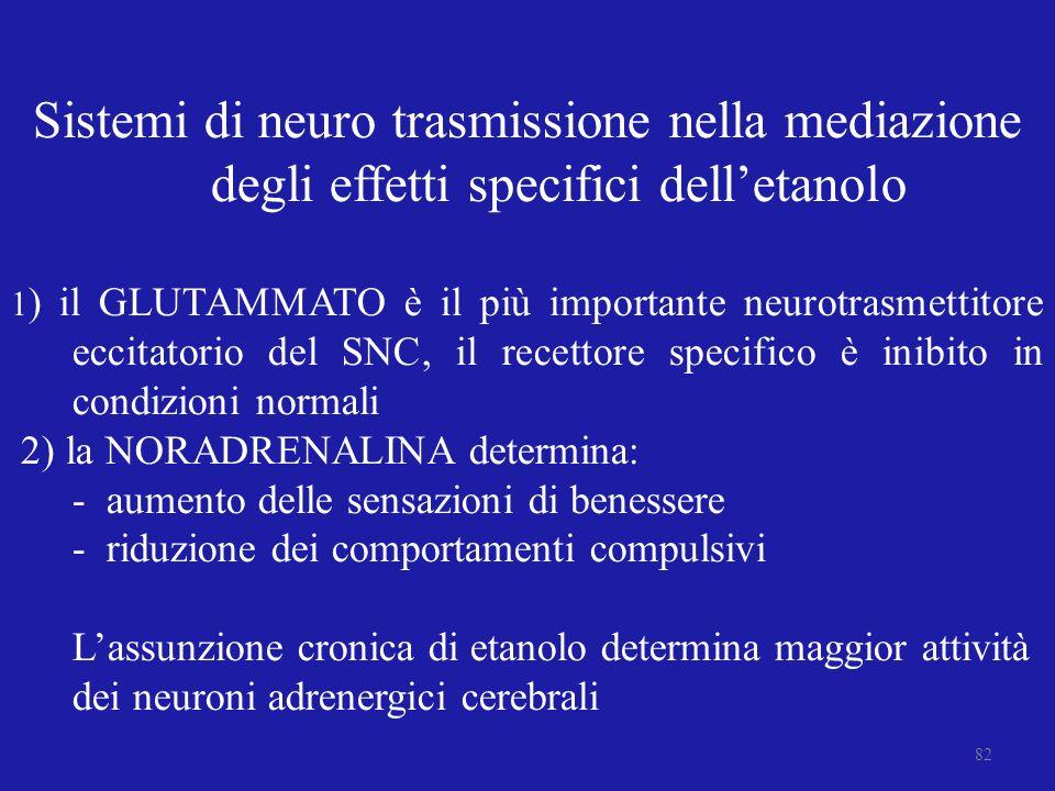 Sistemi di neuro trasmissione nella mediazione degli effetti specifici delletanolo 1 ) il GLUTAMMATO è il più importante neurotrasmettitore eccitatori