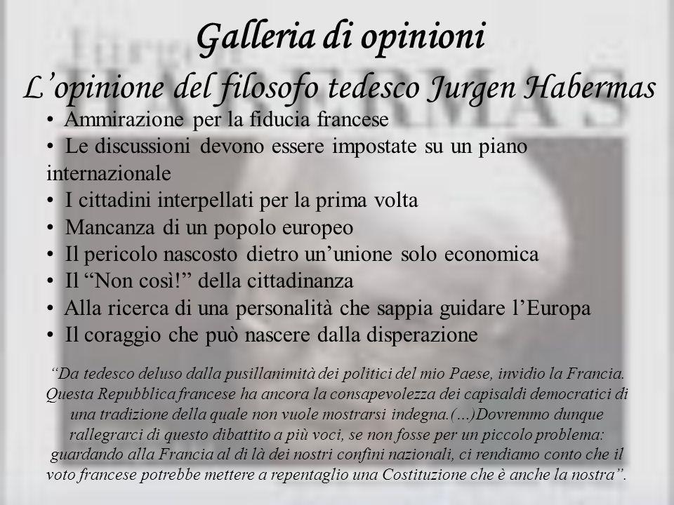 Galleria di opinioni Lopinione del filosofo tedesco Jurgen Habermas Ammirazione per la fiducia francese Le discussioni devono essere impostate su un p