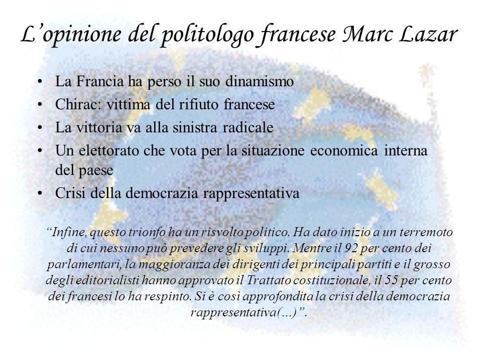 Lopinione del politologo francese Marc Lazar La Francia ha perso il suo dinamismo Chirac: vittima del rifiuto francese La vittoria va alla sinistra ra