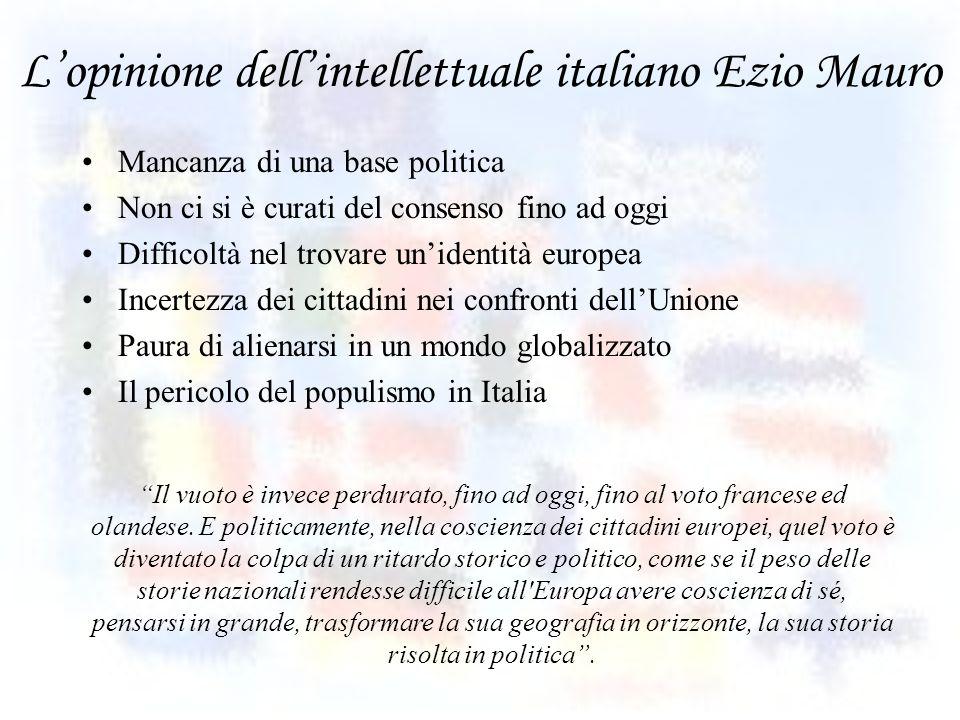 Lopinione dellintellettuale italiano Ezio Mauro Mancanza di una base politica Non ci si è curati del consenso fino ad oggi Difficoltà nel trovare unid