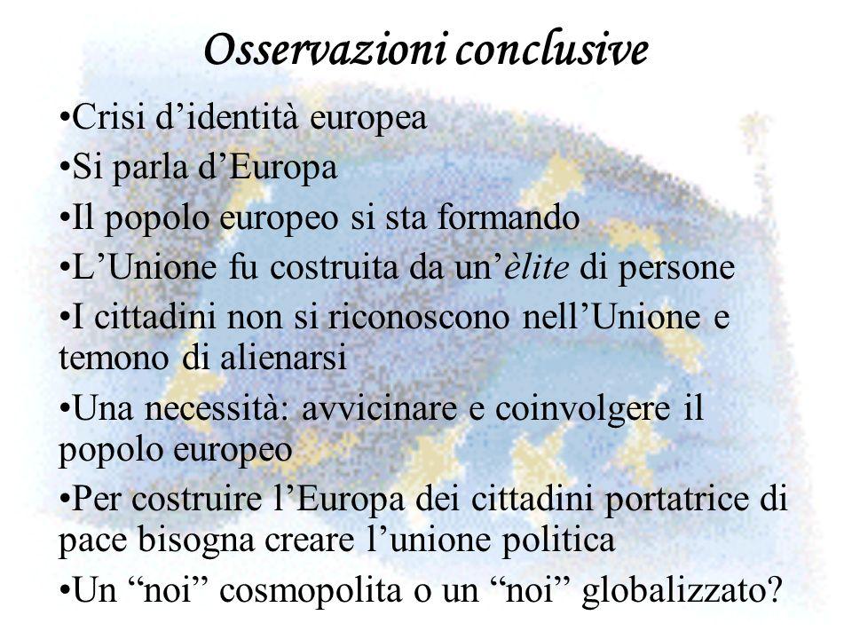 Osservazioni conclusive Crisi didentità europea Si parla dEuropa Il popolo europeo si sta formando LUnione fu costruita da unèlite di persone I cittad