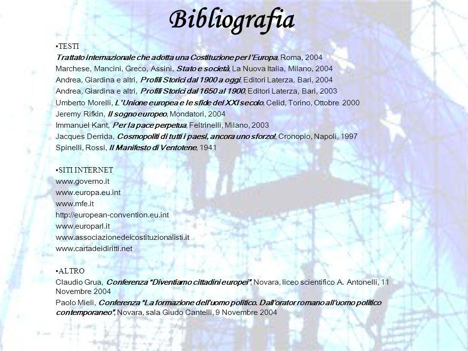 Bibliografia TESTI Trattato internazionale che adotta una Costituzione per lEuropa, Roma, 2004 Marchese, Mancini, Greco, Assini, Stato e società, La N