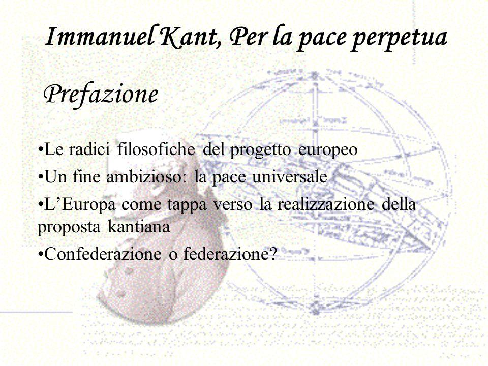 Immanuel Kant, Per la pace perpetua Le radici filosofiche del progetto europeo Un fine ambizioso: la pace universale LEuropa come tappa verso la reali