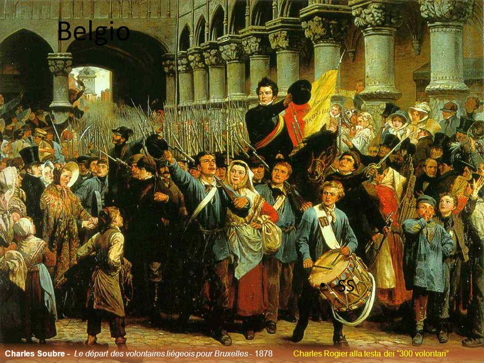 Belgio SS Charles Soubre - Le départ des volontaires liégeois pour Bruxelles - 1878 Charles Rogier alla testa dei 300 volontari