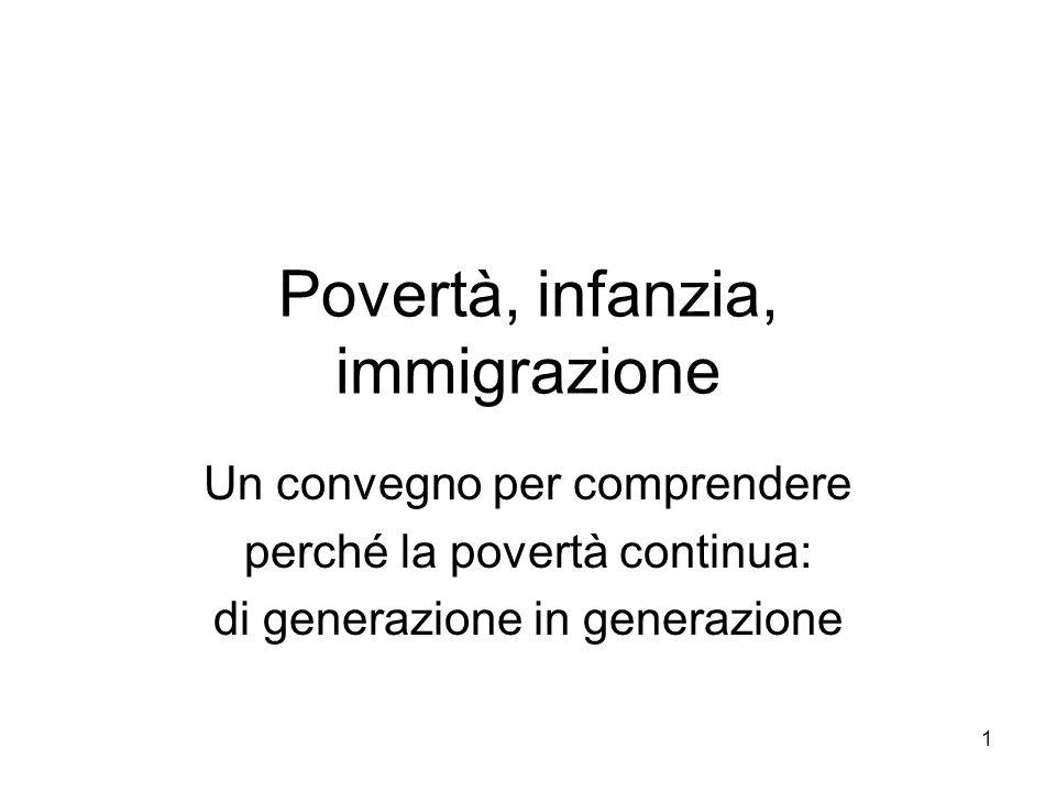 1 Povertà, infanzia, immigrazione Un convegno per comprendere perché la povertà continua: di generazione in generazione