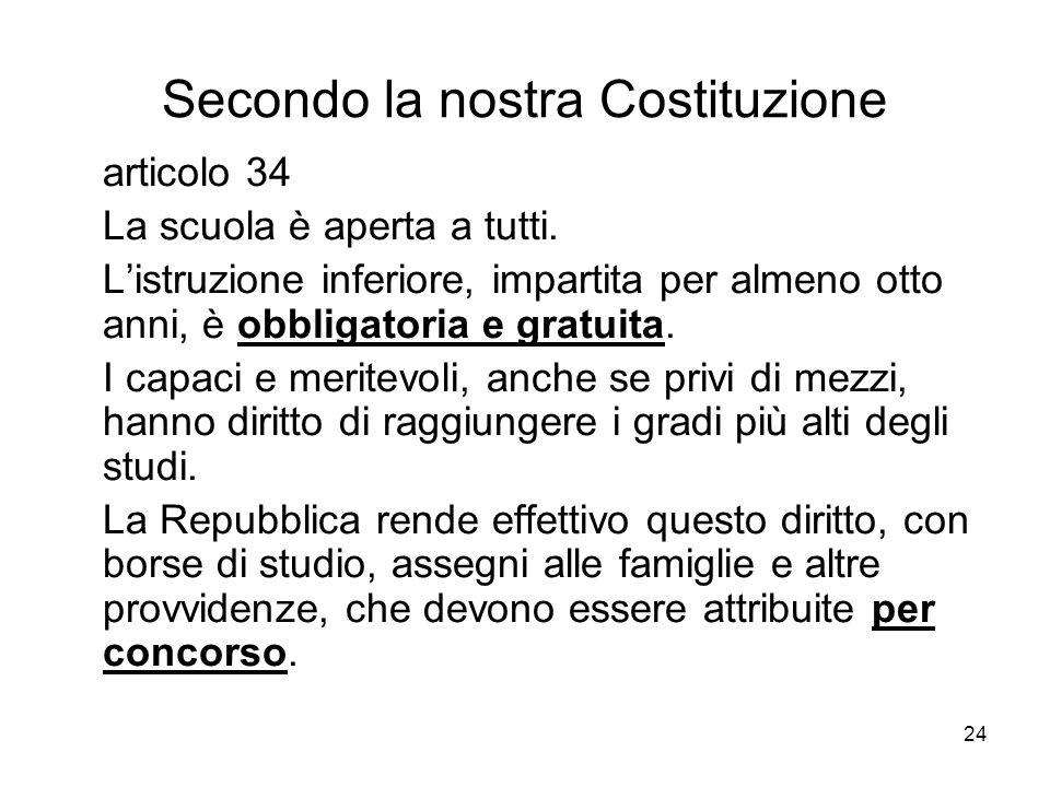 24 Secondo la nostra Costituzione articolo 34 La scuola è aperta a tutti.