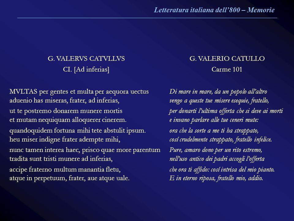 G. VALERVS CATVLLVS CI. [Ad inferias] G. VALERIO CATULLO Carme 101 MVLTAS per gentes et multa per aequora uectus aduenio has miseras, frater, ad infer