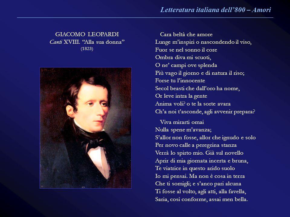 GIACOMO LEOPARDI Canti XVIII. Alla sua donna (1823) Cara beltà che amore Lunge minspiri o nascondendo il viso, Fuor se nel sonno il core Ombra diva mi