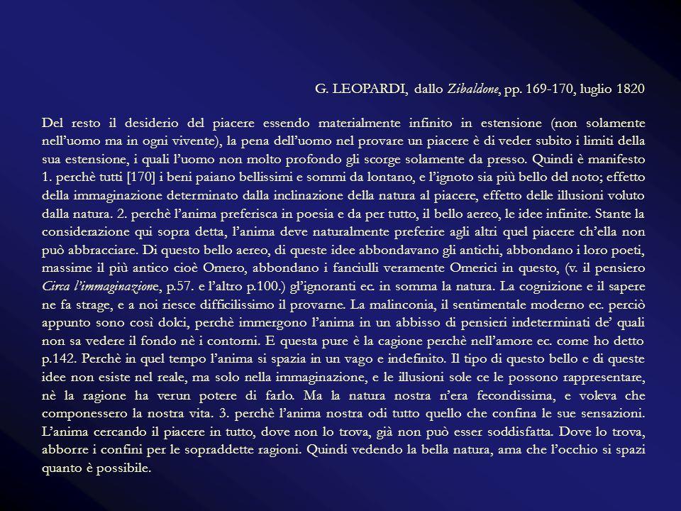 G. LEOPARDI, dallo Zibaldone, pp. 169-170, luglio 1820 Del resto il desiderio del piacere essendo materialmente infinito in estensione (non solamente