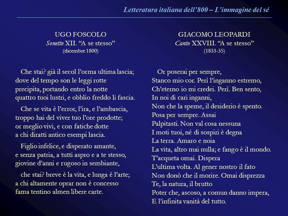 UGO FOSCOLO Sonetto XII. A se stesso (dicembre 1800) GIACOMO LEOPARDI Canto XXVIII. A se stesso (1833-35) Che stai? già il secol lorma ultima lascia;