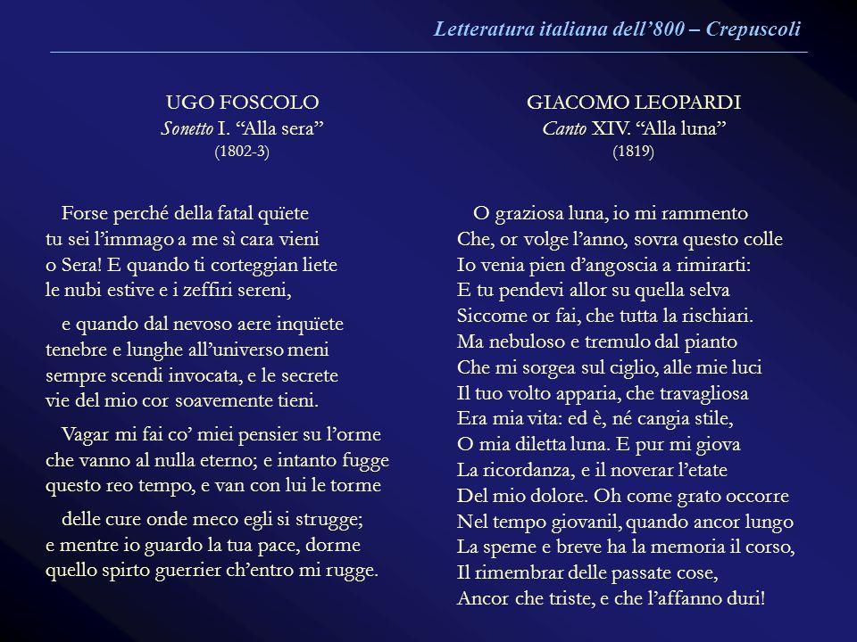 UGO FOSCOLO Sonetto I. Alla sera (1802-3) GIACOMO LEOPARDI Canto XIV. Alla luna (1819) Forse perché della fatal quïete tu sei limmago a me sì cara vie