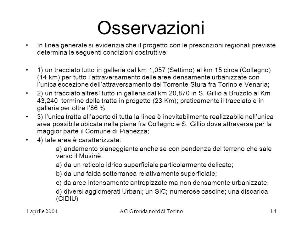 1 aprile 2004AC Gronda nord di Torino14 Osservazioni In linea generale si evidenzia che il progetto con le prescrizioni regionali previste determina le seguenti condizioni costruttive: 1) un tracciato tutto in galleria dal km 1,057 (Settimo) al km 15 circa (Collegno) (14 km) per tutto lattraversamento delle aree densamente urbanizzate con lunica eccezione dellattraversamento del Torrente Stura fra Torino e Venaria; 2) un tracciato altresì tutto in galleria dal km 20,870 in S.