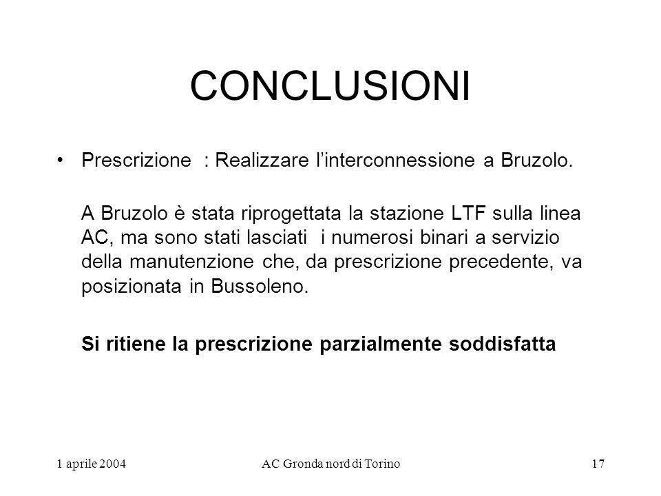 1 aprile 2004AC Gronda nord di Torino17 CONCLUSIONI Prescrizione : Realizzare linterconnessione a Bruzolo.