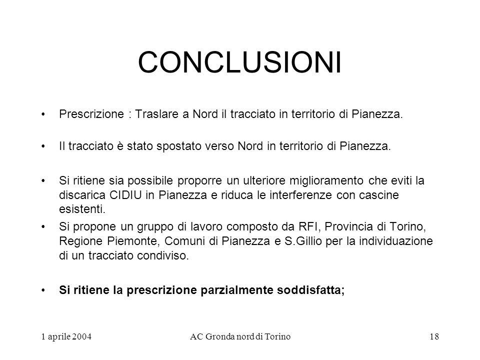 1 aprile 2004AC Gronda nord di Torino18 CONCLUSIONI Prescrizione : Traslare a Nord il tracciato in territorio di Pianezza.