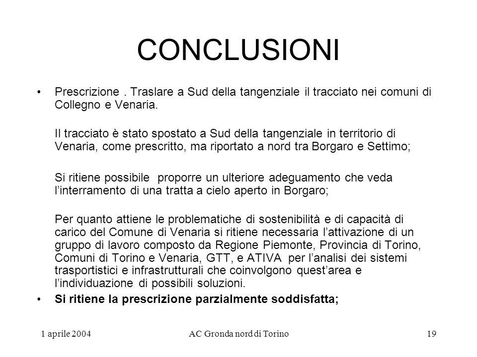 1 aprile 2004AC Gronda nord di Torino19 CONCLUSIONI Prescrizione.