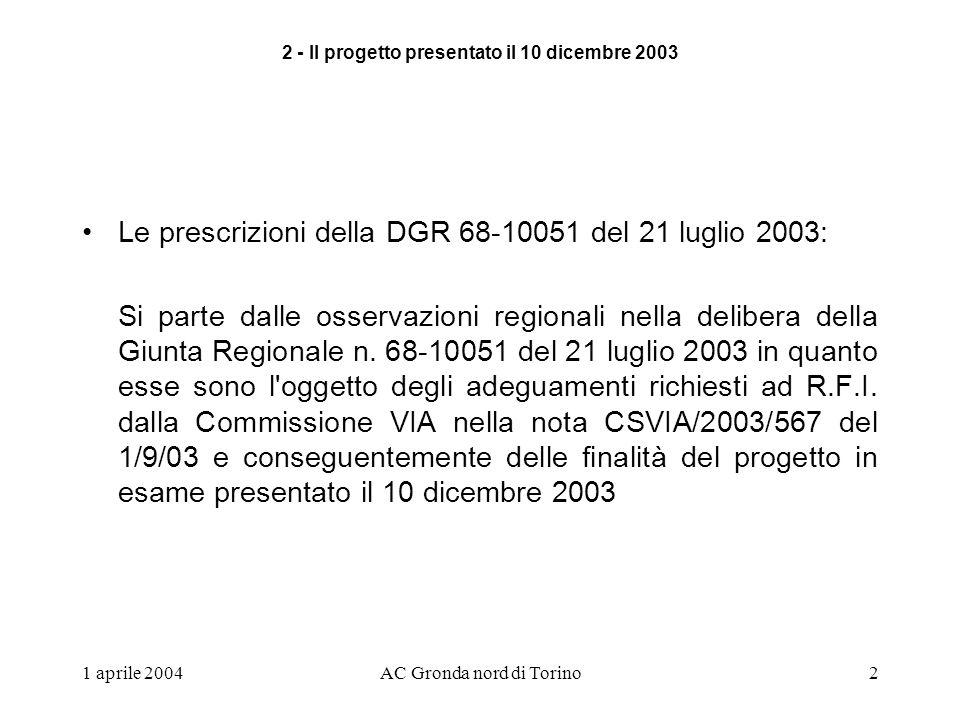 1 aprile 2004AC Gronda nord di Torino2 Le prescrizioni della DGR 68-10051 del 21 luglio 2003: Si parte dalle osservazioni regionali nella delibera della Giunta Regionale n.