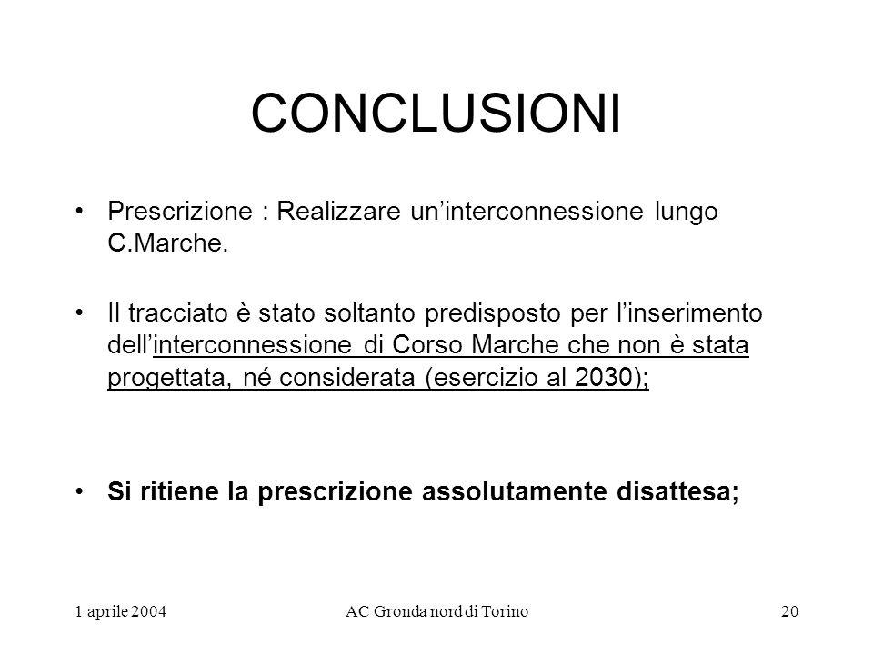 1 aprile 2004AC Gronda nord di Torino20 CONCLUSIONI Prescrizione : Realizzare uninterconnessione lungo C.Marche.