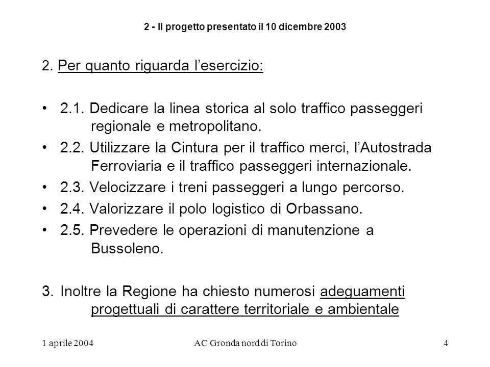 1 aprile 2004AC Gronda nord di Torino4 2. Per quanto riguarda lesercizio: 2.1.