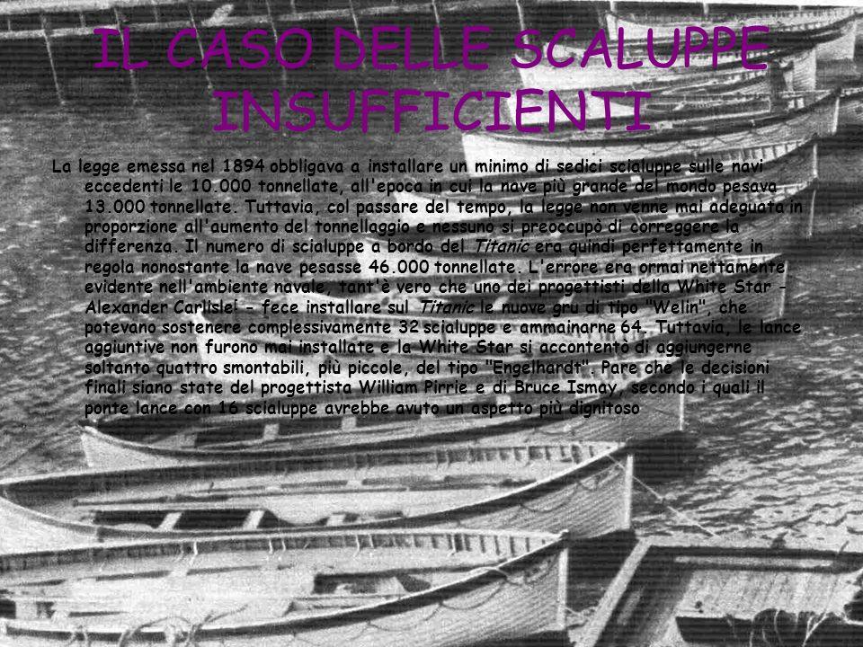 IL CASO DELLE SCALUPPE INSUFFICIENTI La legge emessa nel 1894 obbligava a installare un minimo di sedici scialuppe sulle navi eccedenti le 10.000 tonn