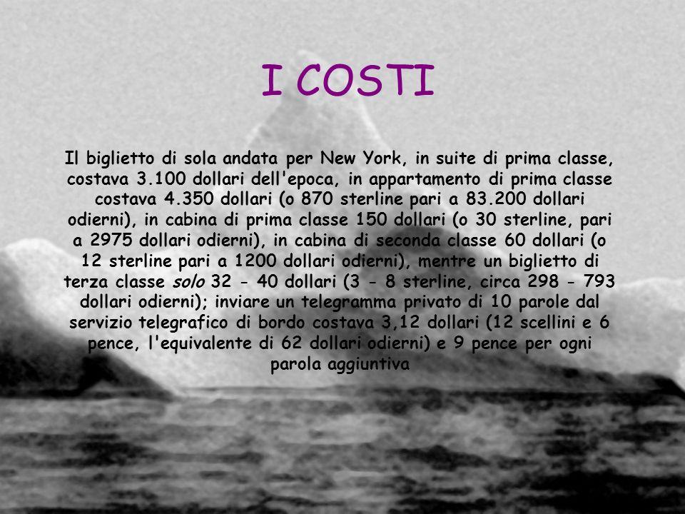 I COSTI Il biglietto di sola andata per New York, in suite di prima classe, costava 3.100 dollari dell'epoca, in appartamento di prima classe costava
