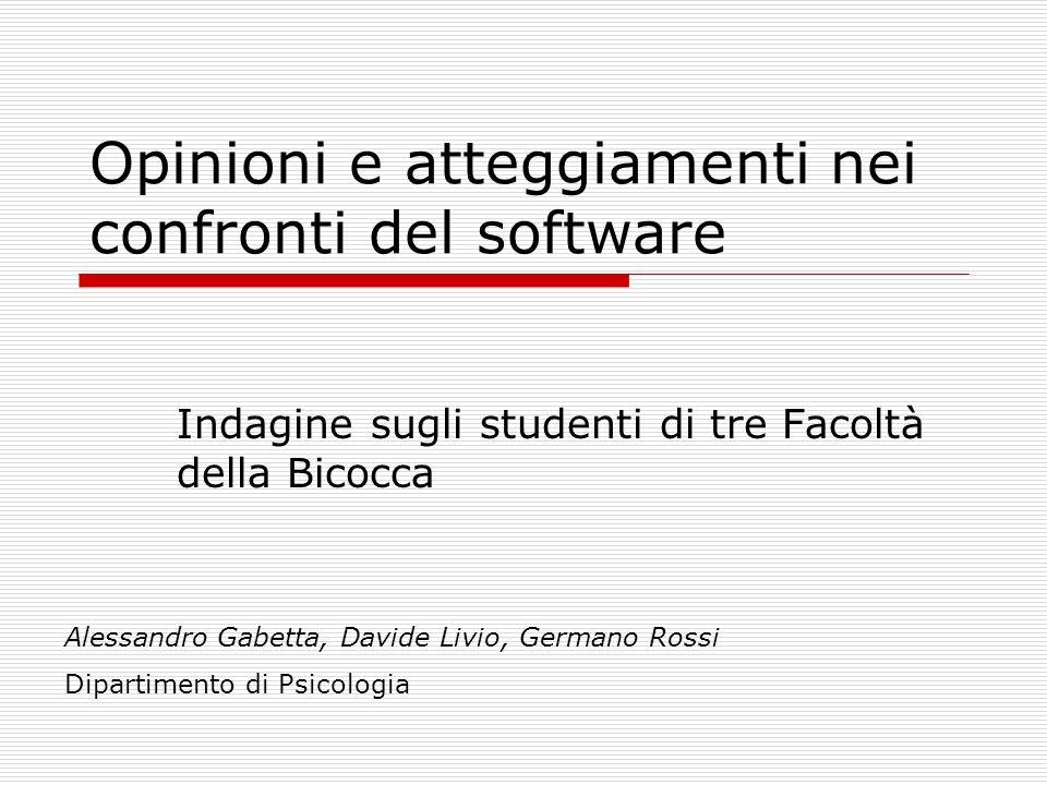 Sistemi operativi usati Psicolo- gia Giurispr udenza Infor- matica Totale Mac3,9%3,1%13,7%5,8% Linux2,6%3,1%45,1%12,4% Windows100%99,0%98%99,1% Altro0,0% 7,8%1,8%
