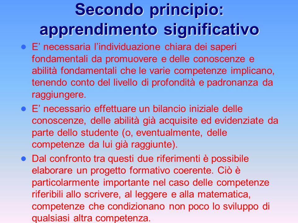 Secondo principio: apprendimento significativo E necessaria lindividuazione chiara dei saperi fondamentali da promuovere e delle conoscenze e abilità fondamentali che le varie competenze implicano, tenendo conto del livello di profondità e padronanza da raggiungere.