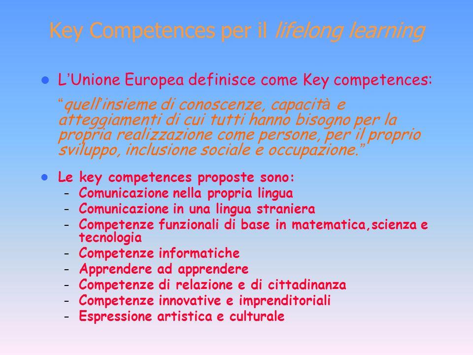La nozione di « competenza chiave » (key competence) Le competenze chiave sono tali se forniscono le basi per un apprendimento che dura tutta la vita, consentendo di aggiornare costantemente conoscenze e abilità in modo da far fronte ai continui sviluppi e trasformazioni.