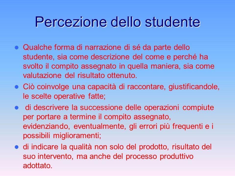 Percezione dello studente Qualche forma di narrazione di sé da parte dello studente, sia come descrizione del come e perché ha svolto il compito assegnato in quella maniera, sia come valutazione del risultato ottenuto.