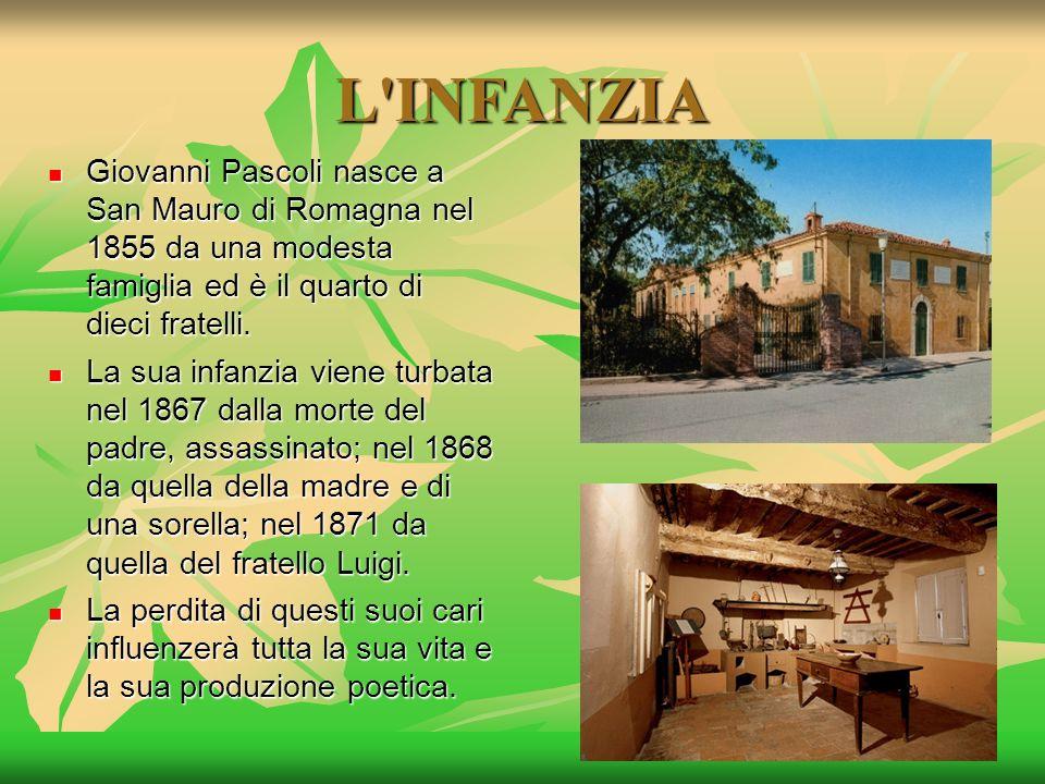 L'INFANZIA Giovanni Pascoli nasce a San Mauro di Romagna nel 1855 da una modesta famiglia ed è il quarto di dieci fratelli. Giovanni Pascoli nasce a S